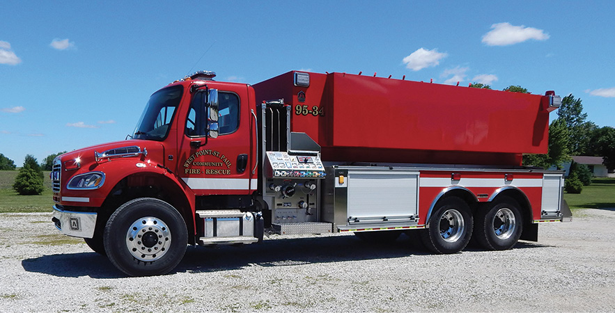 Alexis—West Point St. Paul Community Fire Association, West Point, IA, pumper-tanker. Freightliner M2 cab and chassis; Detroit DD8 7.7L 375-hp engine; 3,000-gallon polypropylene water tank; Darley PSM 1,500-gpm pump; Newton 10-inch square dump valve with 36-inch extension chute; heavy-duty stainless steel body and subframe. Dealer: Greg Landon, Alexis Fire Equipment, Alexis, IL.