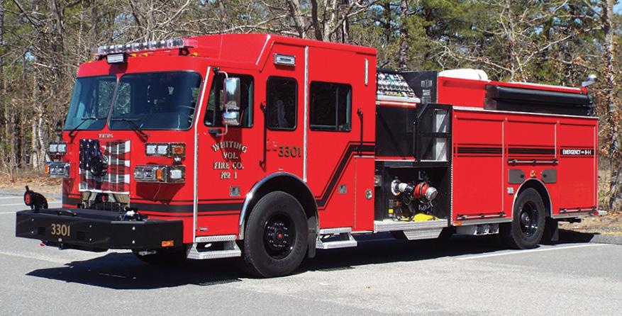 Sutphen—Whiting Fire Company, Manchester Township, NJ, pumper. Monarch cab and chassis; Cummins L9 450-hp engine; Hale Qmax 2,000-gpm pump; UPF Poly 1,000-gallon water tank; 50-gallon foam cell; Hale FoamLogix 5.0 single-agent foam system; Will-Burt Night Scan 6,000-watt light tower; Smart Power 10-kW generator; Akron Apollo deck gun. Dealer: Joe Quather, Blaze Emergency Equipment, Browns Mills, NJ. (Photo by John M. Malecky.)