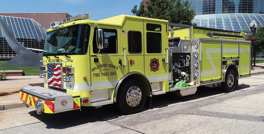 Pierce—Hollywood Heights Fire Protection District, Caseyville, IL, pumper-tanker. Saber cab and chassis; Cummins L9 450-hp engine; Hale DSD 1,500-gpm pump; IPF Poly 1,800-gallon water tank; 20-gallon foam cell; eductor foam system; Whelen PCP2 light tower. Dealer: Mike Yurgec, Global Emergency Products, Aurora, IL.