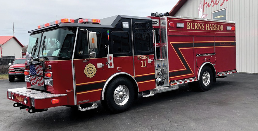 E-ONE—Burns Harbor (IN) Fire Department eMAX pumper. Typhoon cab and chassis; Cummins L9 450-hp engine; E-ONE eMAX 1,500-gpm pump; UPF Poly 783-gallon water tank. Dealer: Matt Timmer, Fire Service Inc., St. John, IN.