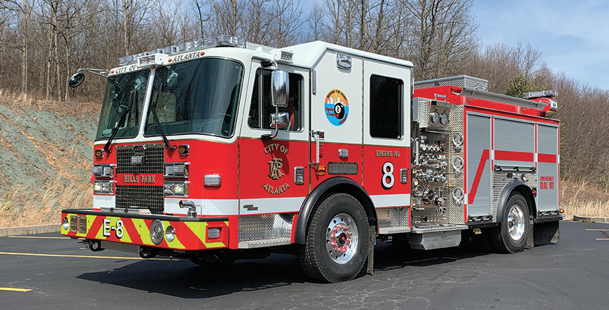 KME—Atlanta (GA) Fire Department pumpers (6). Severe Service XMFD cabs and chassis; Cummins L9 450-hp engines; Hale Qmax 1,500-gpm pumps; 500-gallon polypropylene water tanks; 30-gallon foam cells; Elkhart 125-gpm foam eductor systems; Zico electronically controlled ladder racks; David Clark intercom systems; ASA Voyager camera systems. Dealer: Wendell Faulkner, Fireline Inc., Winder, GA.