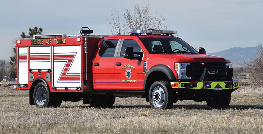 SVI—Kremmling (CO) Fire Protection District Type 6 brush unit. Ford F-550 Super Duty extended four-door cab and chassis; 6.7L Power Stroke diesel engine; National Fire Fighter NFF4 24-hp 110-gpm portable pump; 300-gallon polypropylene water tank; 10-gallon foam cell; FoamPro 1600 single-agent foam system; OnScene Solutions aluminum slide-out trays. Dealer: Jason Kline, SVI, Fort Collins, CO.