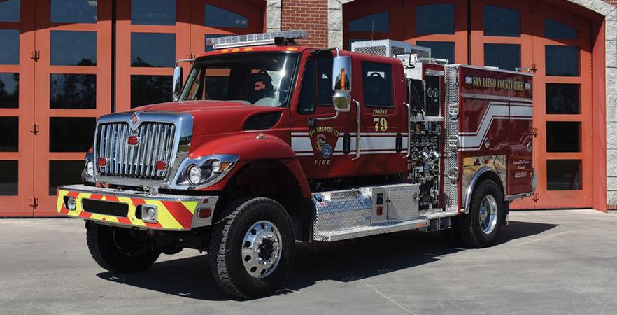Ferrara—San Diego County (CA) Fire Authority Type 3 wildland unit. International 7400 SFA cab and chassis; Cummins L9 330-hp engine; Hale RSD 1,000-gpm PTO pump; 500-gallon polypropylene water tank; 20-gallon foam cell; FoamPro 2001 single-agent foam system. Dealer: Mike Doran, Ferrara Fire Apparatus, Holden, LA.