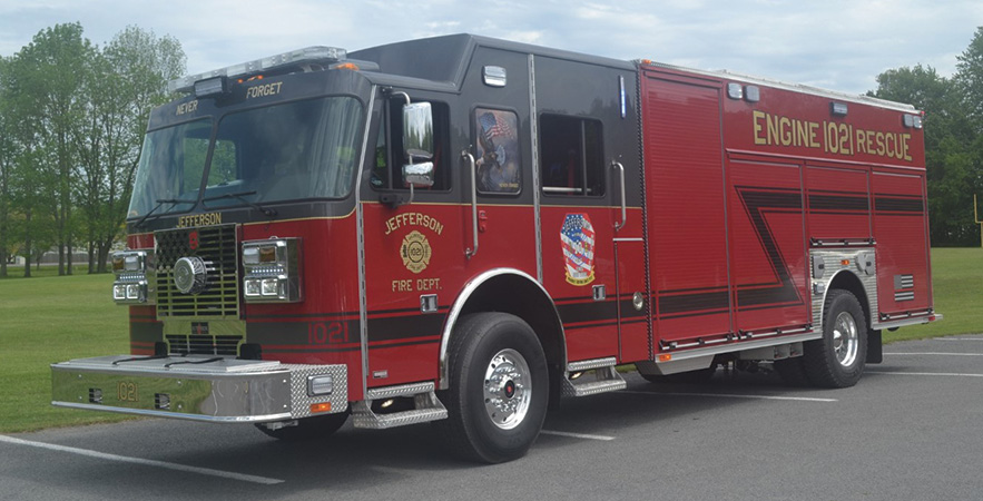 Sutphen—Jefferson (NY) Fire Department rescue-pumper. Monarch cab and chassis; Cummins X12 500-hp engine; Hale Qmax 1,500-gpm pump; 1,000-gallon polypropylene water tank; 50-gallon foam cell; Williams ATP 500 single-agent foam system; Command Light Knight KL415A-FS with six FRC Spectra 240-W LED light heads; Harrison 10-kW generator. Dealer: Larry Gates, Vander Molen Fire Apparatus Sales and Service, Syracuse, NY.