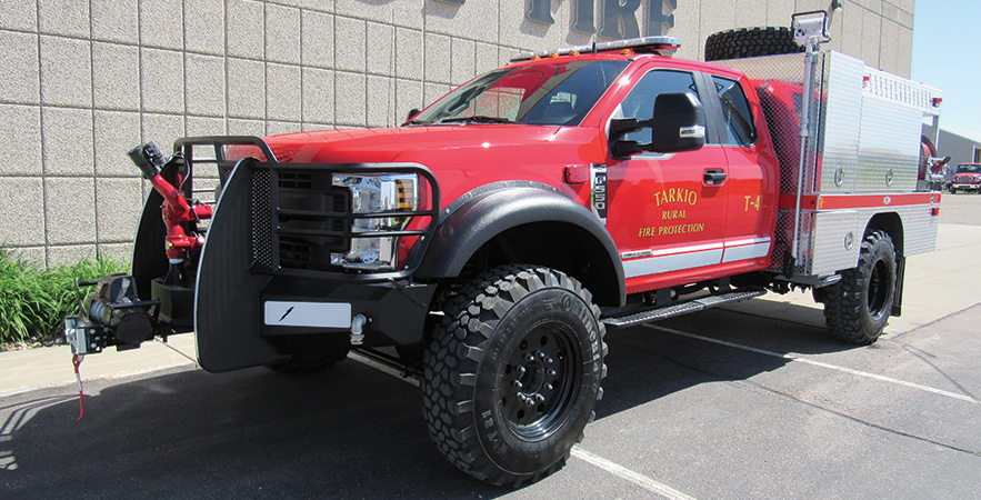 Midwest Fire—Tarkio (MO) Rural Fire Department brush truck. Ford F-550 Super Cab and chassis; Power Stroke 6.7L 4V OHV 330-hp diesel engine; Darley 2BE 21-hp 375-gpm portable pump; UPF Poly 400-gallon water tank; 8-gallon foam cell; Scotty around-the-pump single-agent foam system; Elkhart Sidewinder monitor; Warn Zeon 9,500-pound winch. Dealer: Jeff Bowen, Midwest Fire, Luverne, MN.