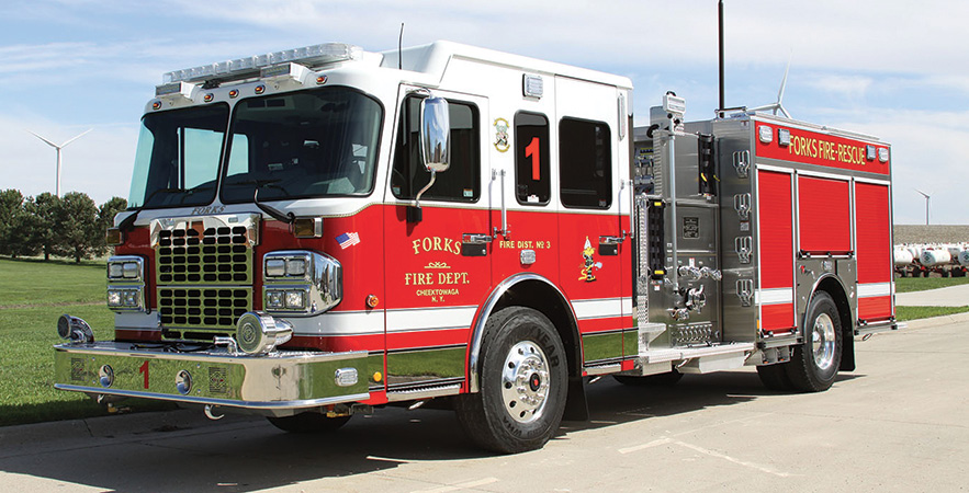 Toyne—Forks Fire District, Cheektowaga, NY, pumpers (2). Spartan Metro star cabs and chassis; Cummins L9 450-hp engines; Hale Qmax 1,500-gpm pumps; UPF Poly 1,000-gallon water tanks; stainless-steel fire bodies; Harrison 6-kW generators; TFT XFT-NJ monitors with 18-inch Extend-A-Guns. Sold by Randy Smalley, Tri State Fire, Monogahela, PA.