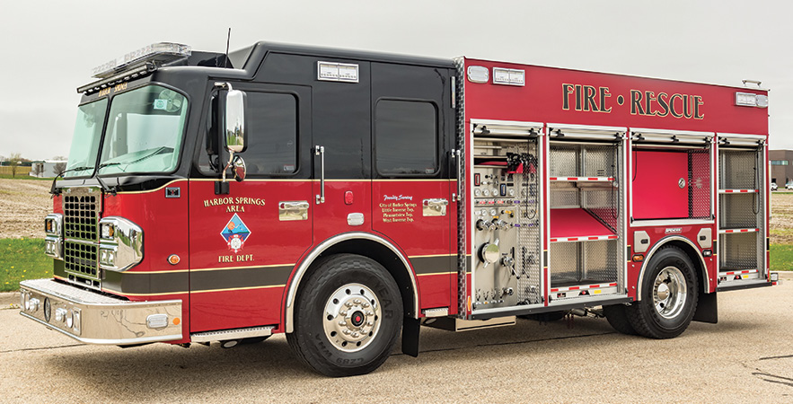 Spencer Manufacturing—Harbor Springs (MI) Fire Department pumper. Spartan Metro Star cab and chassis; Cummins L9 450-hp engine; Hale Qmax XS 1,500-gpm pump; UPF Poly 1,031-gallon water tank; 30-gallon foam cell; Hale FoamLogix 2.1A single-agent foam system. Dealer: Steve Buckner, Spencer Manufacturing, South Haven, MI.