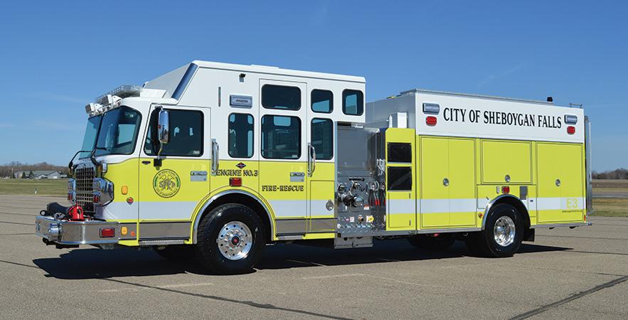 CustomFIRE—Sheboygan Falls (WI) Fire Department pumper. Spartan Gladiator cab and chassis; Cummins L9 450-hp engine; Waterous CSUC20 1,500-gpm pump; 1,000-gallon polypropylene water tank; 20-gallon and 40-gallon foam cells; FoamPro 3012 dual-agent foam system; Waterous 200-cfm CAFS, Harrison 6-kW generator. Will-Burt Night Scan Chief NS 2.3 600WHL light tower. Dealer: Wayde Kirvida, CustomFIRE, Osceola, WI.