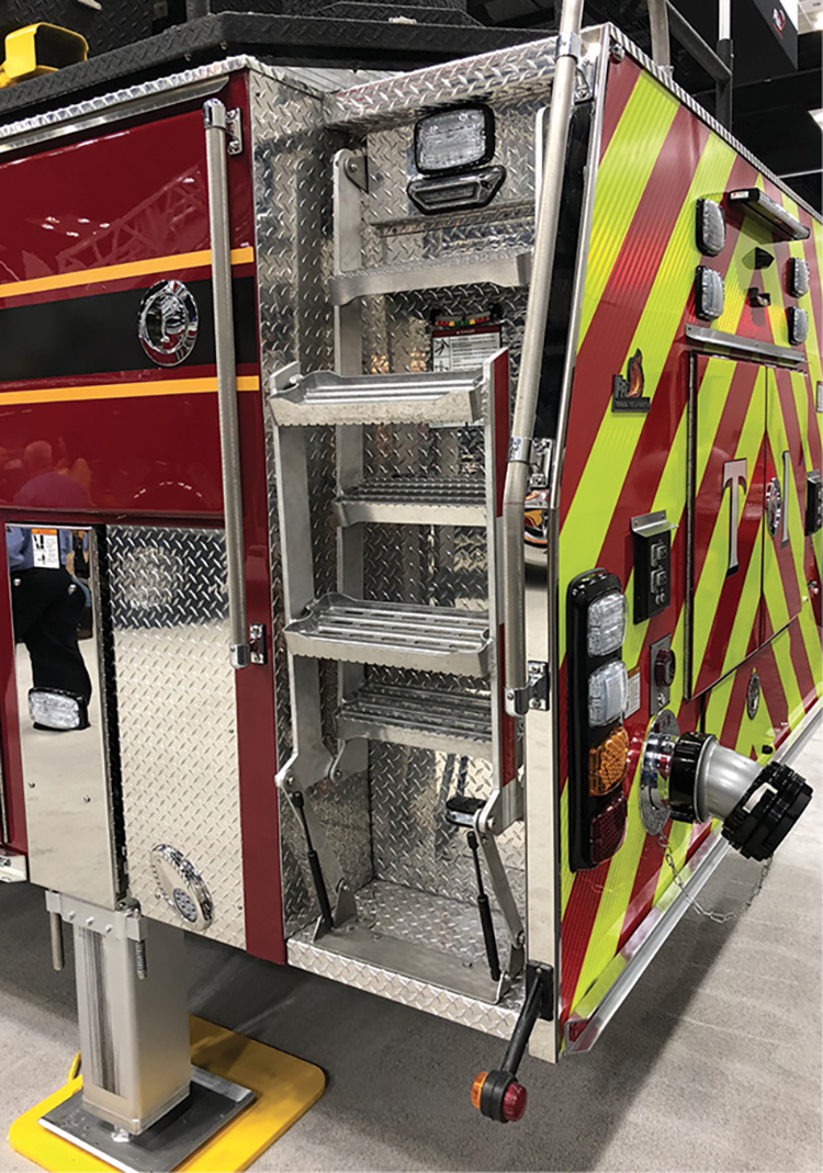 This Ferrara apparatus has a hinge-type design with gas cartridge assist that helps deploy and stow the access ladder.