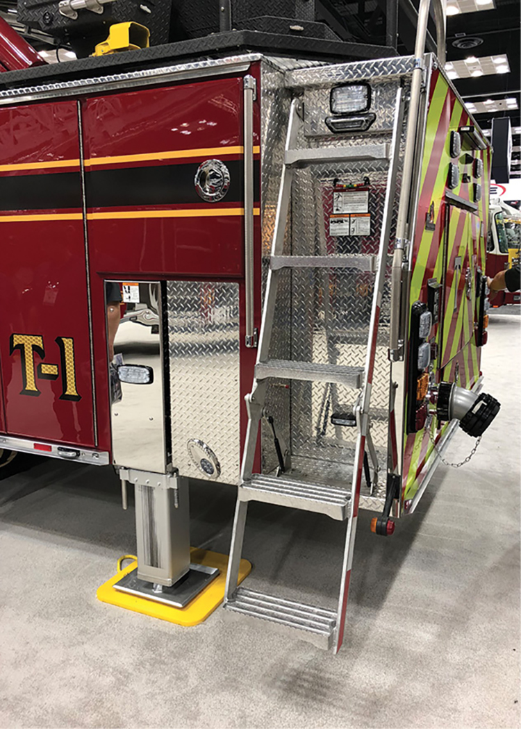 This Ferrara's access ladder is shown in the down position. Note that the lower section will hinge away from the apparatus when it is being deployed.