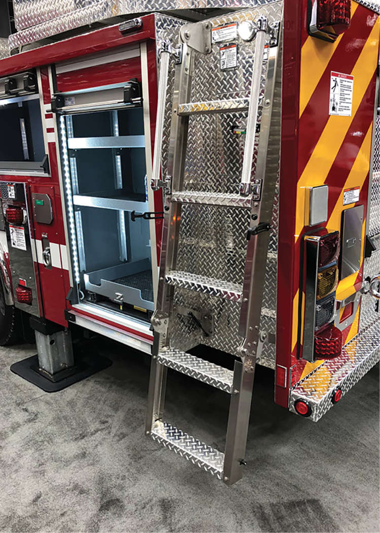 Spartan's access ladder shown in the deployed position also has a gas cartridge design to assist in deploying and stowing. There are two rubber handle releases that allow the bottom of the ladder to hinge into position.