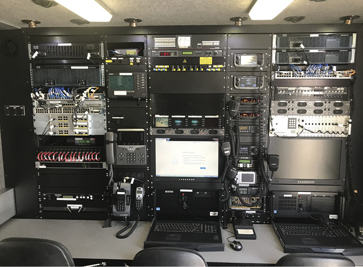 The main communications workstations inside the Cisco NERV's body.