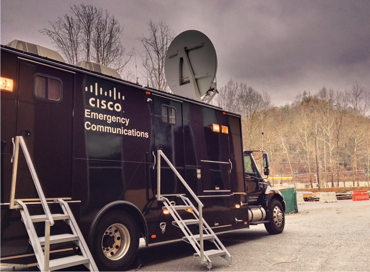 Cisco TacOps NERV truck at a disaster scene.