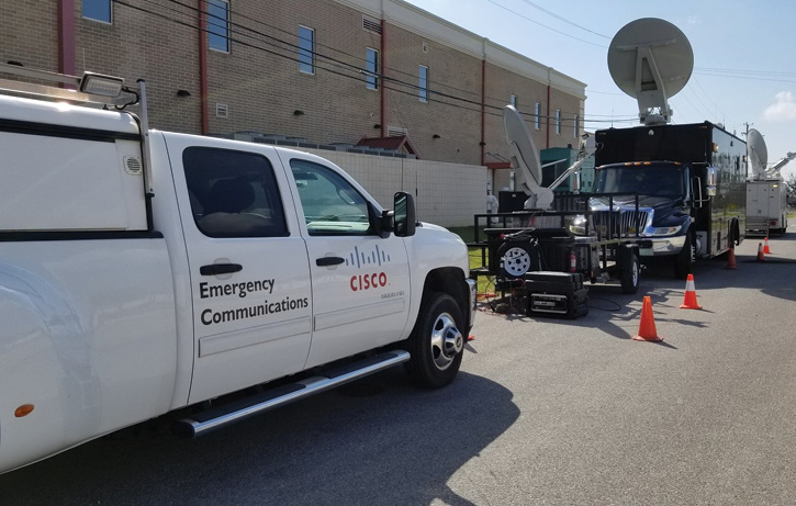 The Cisco NERV with utility pickup and ECU trailer behind the NERV.