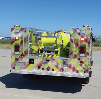 McCarran Airport (NV) had Unruh Fire build a small ARFF vehicle on a Ford F-550 chassis with a custom-built low-profile 11-foot aluminum body, carrying a TRI-MAX TM5300 CAFS unit and 300 gallons of premix.