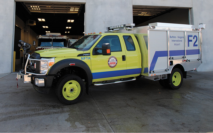 This Airwolf C2 ARFF truck built by Rosenbauer for the Buffalo Niagara (NY) International Airport carries a CAFS unit and a Halotron extinguishing agent.