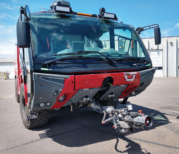Some smaller airports move up to larger size ARFF trucks like this Panther 4x4 built by Rosenbauer for the Portland (ME) International Jetport Airport. Note the RM35 high-volume low-attack (HVLA) bumper turret.