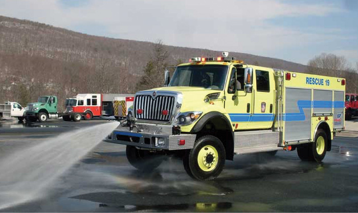 The Williamsport (PA) Regional Airport runs this KME FORCE Class 3 ARFF truck, shown here exercising its bumper turret.