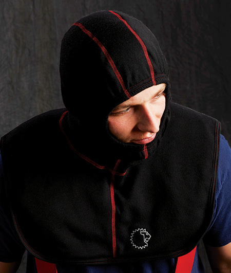 Lion makes the Red Zone particulate-blocking hood with a viscose blend outer and inner shell that's paired with STEDAIR PREVENT. (Photo courtesy of Lion.)