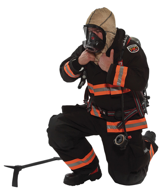 The Fire-Dex H41 Interceptor hood is available in two types of particulate-blocking material: Nomex® Nano Flex and STEDAIR PREVENT. (Photo courtesy of Fire-Dex.)
