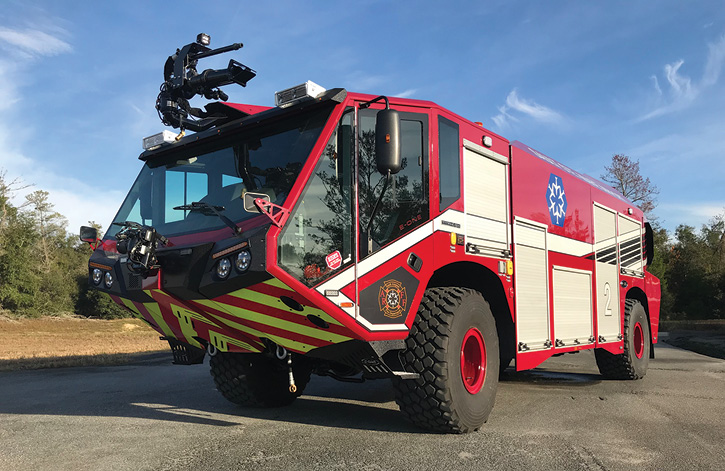 E-ONE supplied this TITAN® 4×4 ARFF truck to the Sault Ste. Marie (ONT) Airport with a Hale 8FG 3,000-gpm pump, a 1,600-gallon water tank, a 225-gallon integral foam tank, a 500-pound dry chemical tank, and an FRC AutoFoam SC foam proportioning system. (Photos 1-5 courtesy of E-ONE.)