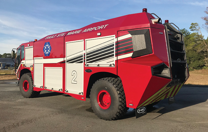 The Sault Ste. Marie ARFF truck has five compartments on each side, with two of them being transverse.