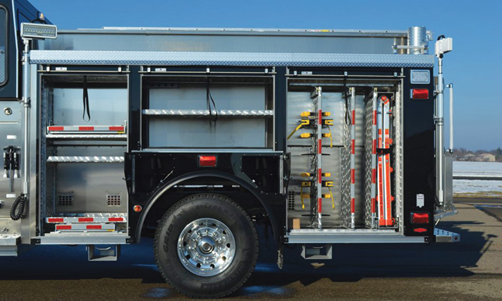 The rig's large driver-side compartments.