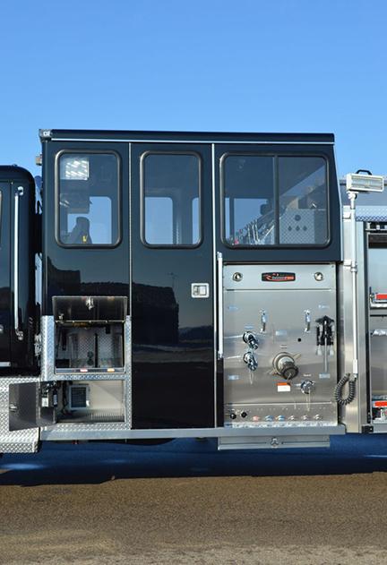 The pumper's top-mount enclosed pump panel.