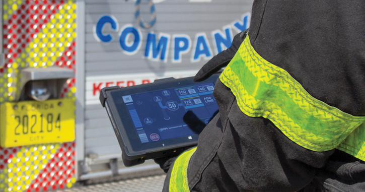 The SAM Control System can be operated from a touch screen display affixed to a pumper or aerial quint or from a wireless touch screen tablet.