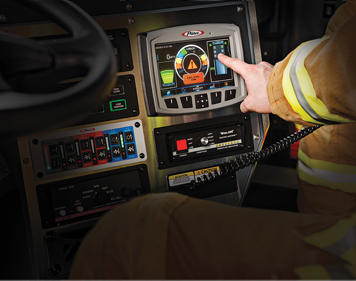 Pierce Manufacturing Inc. makes the Command Zone™ advanced electronics system that uses a seven-inch industrial-grade color touch screen monitor.