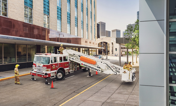 Pierce offers Command Zone on all its Ascendant aerial devices along with Advanced Collision and Avoidance, Level Assist, and Wireless Aerial Control.