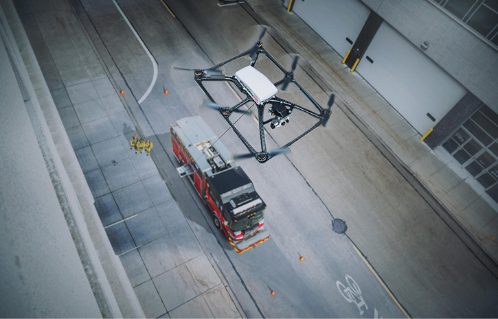 The Situational Awareness System offered by Pierce Manufacturing is a tethered drone with on-scene capability of tracking personnel for an incident commander.