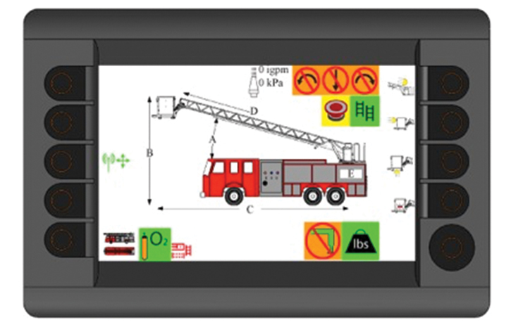 This view shows one of the many screens that can be accessed on the Rosenbauer SMART technology system.