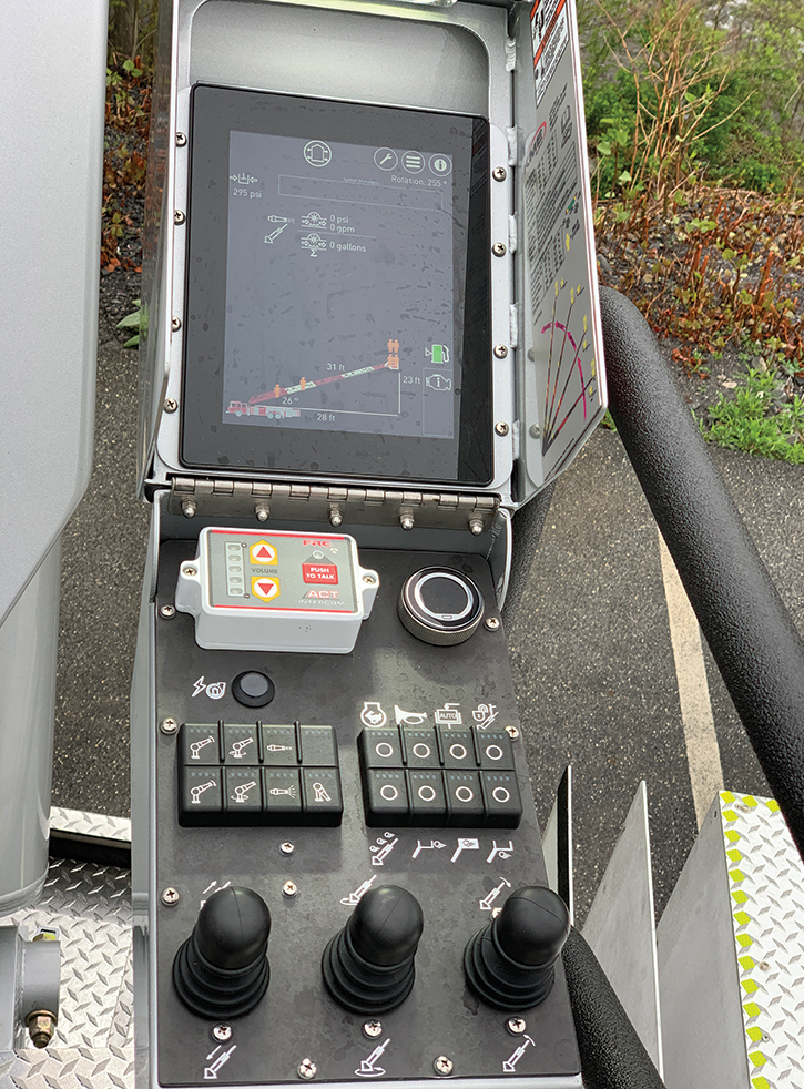KME offers electronic control of its aerial ladders and platforms as shown on this aerial pedestal.