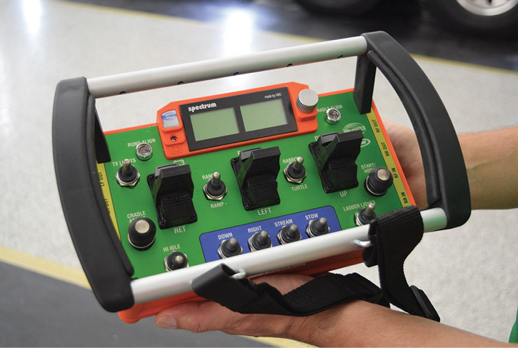 The wireless aerial control unit, which is part of E-ONE's AACS.