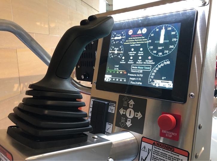HME Ahrens-Fox makes a smart aerial electronic control console for its aerial products that features complete envelope control of the aerial.