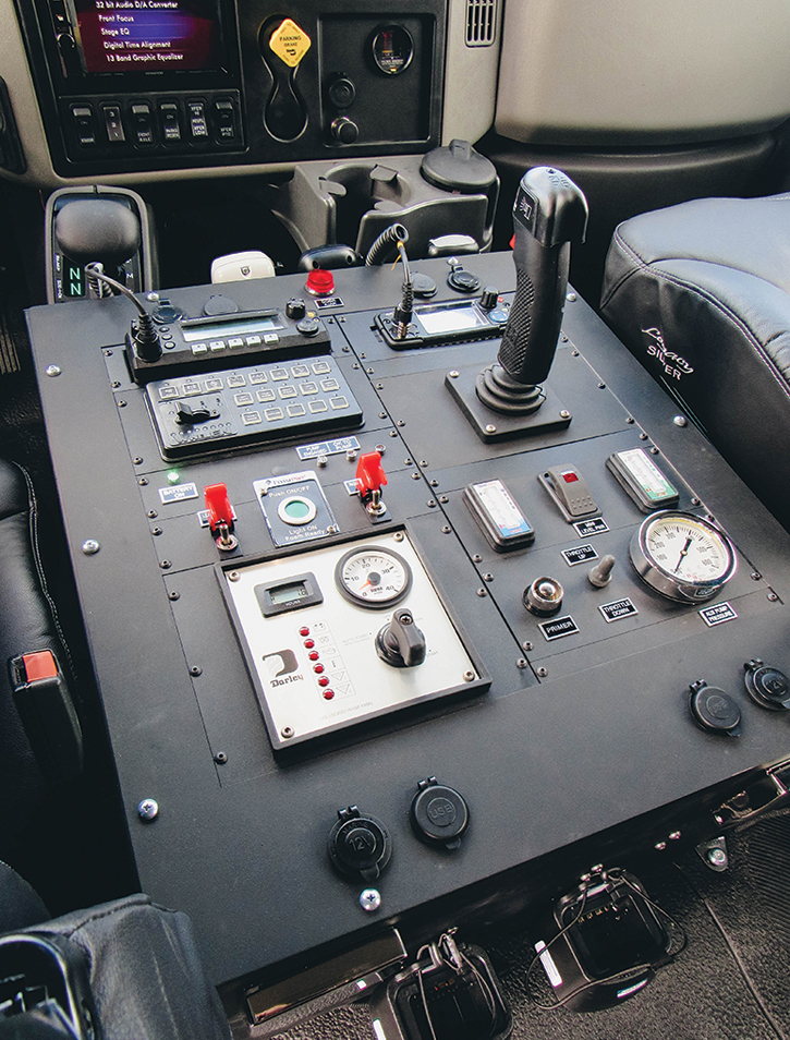 Many of Boise Mobile Equipment's wildland pumpers use electronic operation from the cab for pump-and-roll operations and for electronic turret monitors on front bumpers.