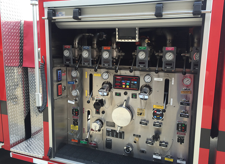 Summit Fire Apparatus installed a Hale electronic pressure governor in an enclosed pump panel on this pumper for Anderson Township (OH) Fire Rescue.