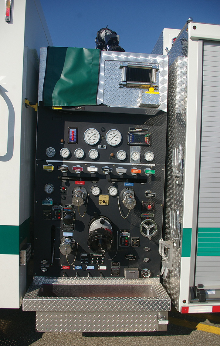 This pump panel built by Summit for the Green Township (OH) Fire Department has both a Hale electronic pressure governor and a manual pressure relief valve.