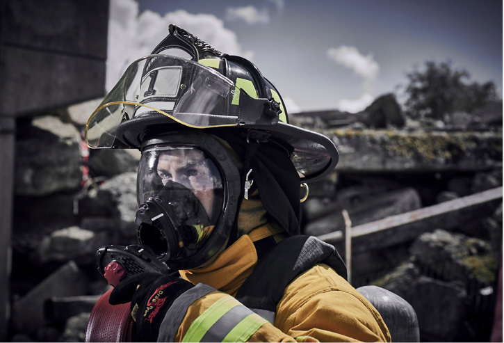 Avon Protection Systems makes the Magnum 2 SCBA with an in-mask Bluetooth noise-canceling microchip that only amplifies audio when the user is actually speaking.
