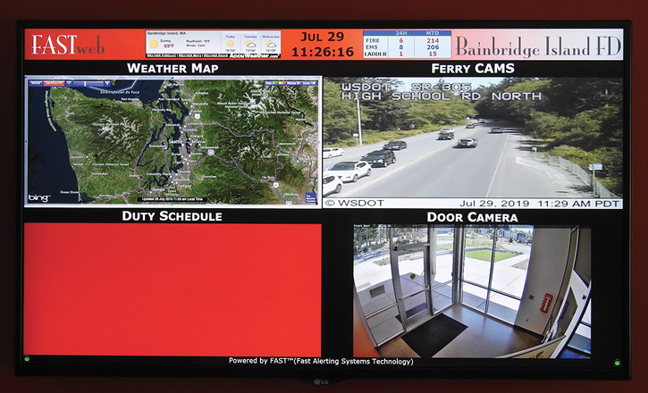 A Bainbridge Island monitor when not in alert, showing weather, door camera, staffing, and a ferry camera.