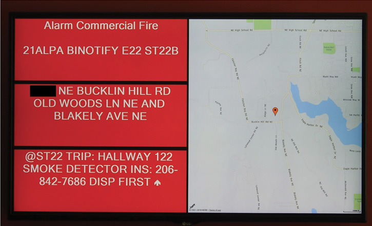 When Bainbridge Island Station 21 gets an alert, all the station monitors show a screen like this one, giving the type and location of the alarm, address, and GPS map to the location.