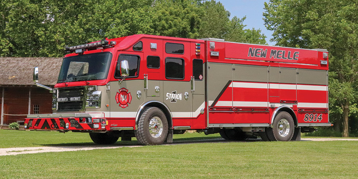 Rosenbauer built this rear-mount rescue-pumper controlled by an IDEX SAM™ Control System for the New Melle (MO) Fire Department.