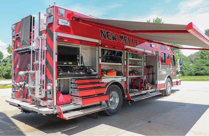 The New Melle rescue-pumper has its control panel in the R4 compartment that is protected by a curbside awning.