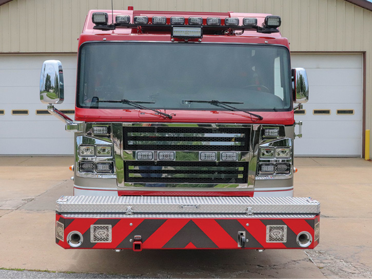 The front of the rescue-pumper has a 28-inch extended front bumper and covered full-width hose trays holding two 200-foot lengths of 1¾-inch hose and one 100-foot length of 1¾-inch line.