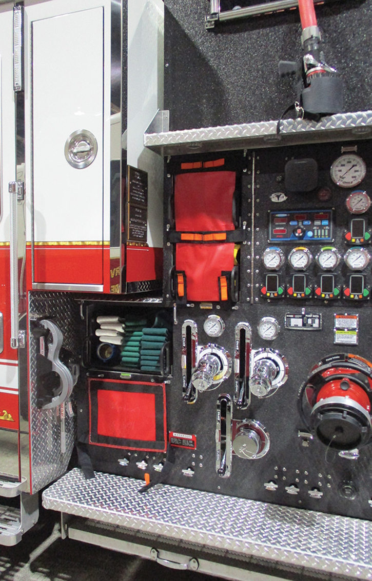 Some apparatus designs today feature speedlays on removable polypropylene or aluminum trays. If there isn't a designated trash line, an entire preconnect may have to be pulled for a nuisance fire. Some preconnected hose loads, especially shoulder carries, may preclude pulling off just the first couple of lengths. Even if just a length or two can be pulled and connected to a side discharge, the whole tray must be removed to reload. If mounted high off the ground, it could be difficult with limited staffing. Five lengths of 1¾-inch can weigh 100 pounds, then add the nozzle and the tray itself. The speedlays on this rig are low to the ground.