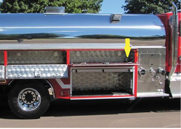 This 4 Guys 4,000-gallon NFPA 1901 Chapter 7 compliant Mobile Water Supply Apparatus is used to nurse an initial attack first-in rig. There's a discharge located inside each forward compartment supplying 200 feet of 1¾-inch preconnect—if they are required. Easy to repack.