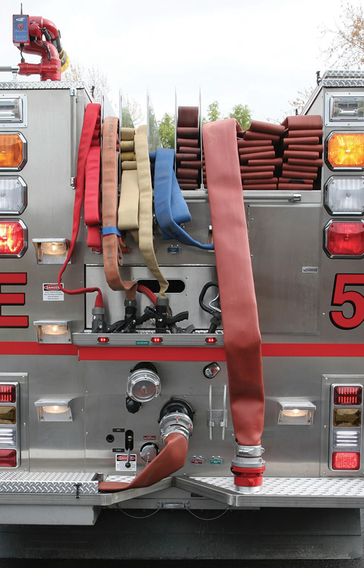 This Crimson pumper has the nozzles and loops to pull these four preconnects that are reachable from the ground; however, repacking the load might be challenging for two people and a nightmare for one.