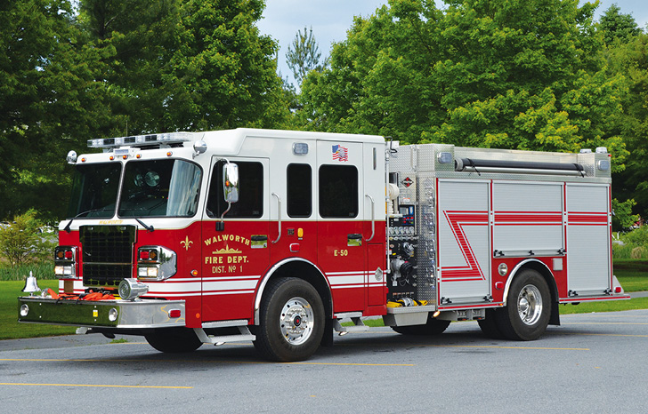 Spartan ER—Walworth (NY) Fire District #1 pumper. Spartan Metro Star cab and chassis; Cummins L9 450-hp engine; Hale DSD 1,500-gpm pump; UPF Poly 1,000-gallon water tank; TFT 18-inch Extend-A-Gun deck gun; Whelen scene and warning lights; Vibra-Torque mounting system. Dealer: Allan Smith, Colden Enterprises Inc., Kenmore, NY. (Photo by Jason Coleman-Cobb.)