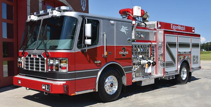 Ferrara—Exxon Beaumont Polyethylene, Beaumont, TX, Super Pumper. Inferno cab and chassis; Cummins X15 600-hp engine; Hale 8 FG 3,000-gpm pump; 1,000-gallon polypropylene foam tank; Williams HS2 Class B foam system; Williams Ambassador 2X6 deck gun monitor. Dealer: Mike Covington, Star Emergency Group, Houston, TX.